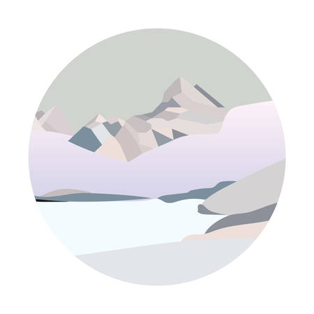 Winter north mountain landscape. Simple flat vector illustration. Snow land background with hills mountains and frozen lake. Alaska landscape.