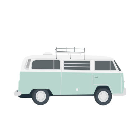 Vector blue retro bus isolated on white. Simple flat illustration