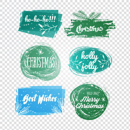 Labels with Christmas and New Years designs. Decorative tags and elements set for holiday lettering design .Vector illustrated Christmas stamp logo.