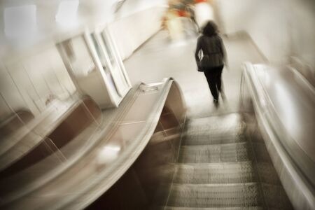 A young woman in subway in blur. Zdjęcie Seryjne