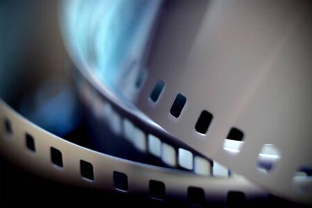 35mm black and white negative film in blur