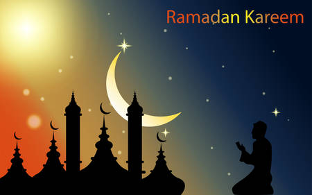 Vector graphics illustration, welcoming the moon full of blessings and forgiveness, HD Ramadan backgrounds, beautiful particles and moons!