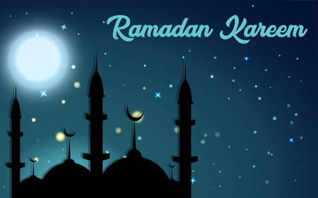 Vector graphics illustration, welcoming the moon full of blessings and forgiveness, HD Ramadan backgrounds, beautiful particles and moon. Vetores
