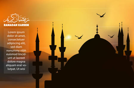 illustration vector graphic of Mosque Ramadan background at the desert in afternoon and birds above it, good for backgrounds, wallpaper, social media post, etc.