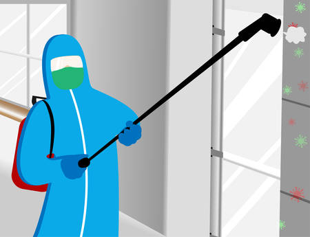 Illustration vector graphic of Disinfectant worker tries to cleaning every corner in the office room, sterilization coronavirus or COVID-19.