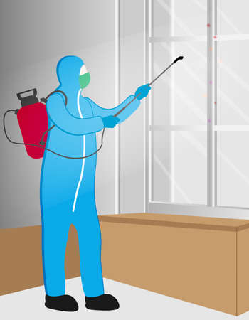 Illustration vector graphic of Disinfectant worker tries to cleaning the office room,  sterilization coronavirus or COVID-19. Illustration