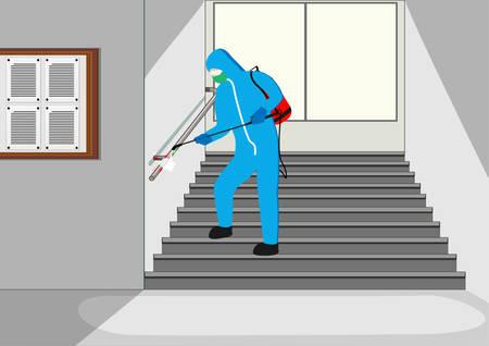 Illustration vectorielle d'un travailleur désinfectant essaie de nettoyer le bureau, le coronavirus de stérilisation ou le COVID-19. Vecteurs