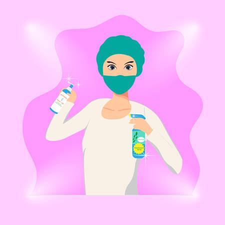 nurse, illustration vector graphic of a nurse holding hand sanitizer and disinfectant spray, virus sterilization, coronavirus, outbreak.