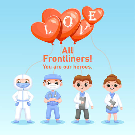 doctors and nurse, appreciation text for all frontliners during this difficult time, use in social media post, brochure, flyer/leaflet, etc. vector illustration.