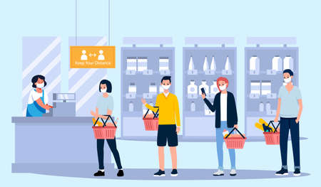 social distance, vector illustration of people queuing at the supermarket and keeping a distance from others to protect from the spread of the virus