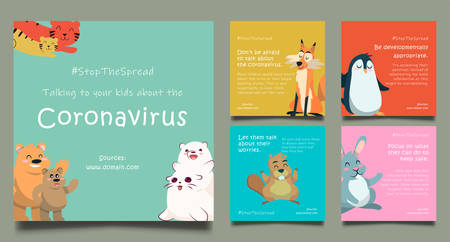 coronavirus, the concept of stop the spread, cute and multi colored animal backgrounds, COVID-19 templates vector illustration, use on social media posts, brochures, etc.