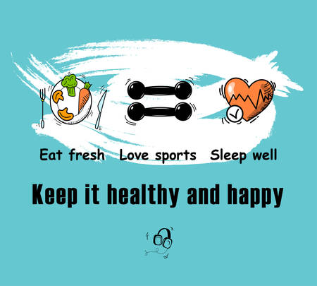 mental health, vector illustration of simple tips poster healthy living on new normal activity after the outbreak.  イラスト・ベクター素材