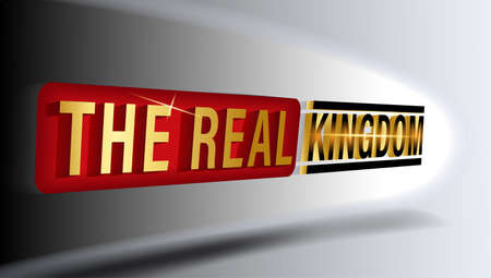 the real kingdom, gold shiny text effect background.