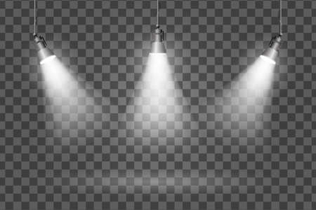 transparent effects on a plain dark background. Bright lighting with spotlights. 向量圖像