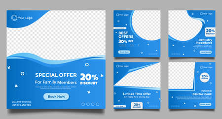 Dentist social media post templates. Medical promotion square web banner. Special offer banner. Sale and discount backgrounds. Vector illustration.