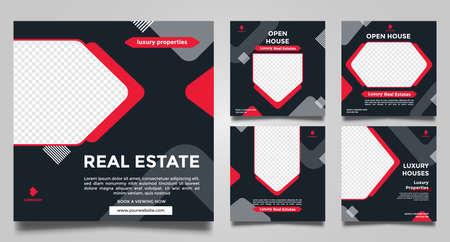Real estate open house social media post, square banner templates. modern vector design. Vector illustration. 向量圖像