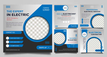 Electrical service social media post templates. promotion square web banner. Special offer banner. Sale and discount backgrounds. Modern vector design. Vector illustration.