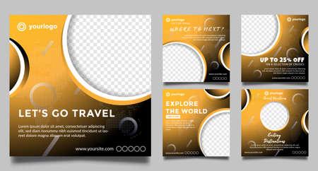 Travel social media post templates. promotion square web banner. Special offer banner. Sale and discount backgrounds. modern vector design. Vector illustration. Ilustração