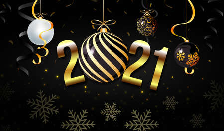 2021 New Year background with decorative christmas balls. Snowflakes. Black color composition. Suitable for Greeting card, hanging banner, poster. etc.