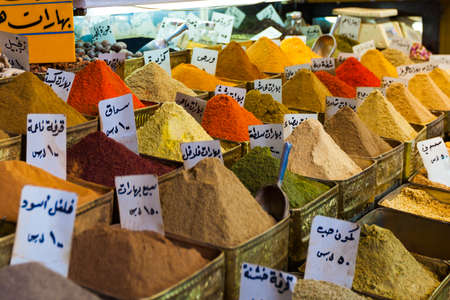 Spices on an oriental market in Damascus, Syria
