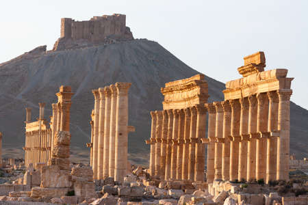 De oude ruïnes van Palmyra, Syrië