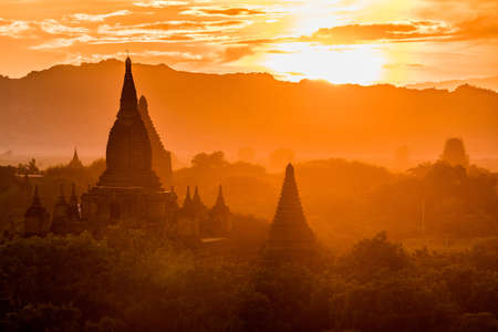 The temples and pagodas of Bagan, Myanmar near Mandalay during sunset