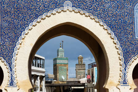 Bab Bou Jeloud gate or Blue Gate in Fes el Bali medina, Morocco