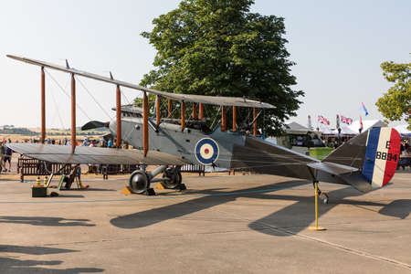 De Havilland DH-9 E-8894 biplane in the static display at the IWM Duxford Flying Legends airshow Editorial