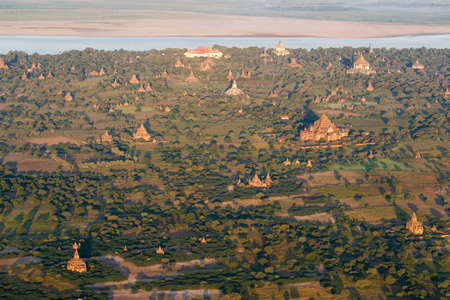 Temples and Pagodas of Bagan (Pagan) seen from above , Mandalay, Myanmar
