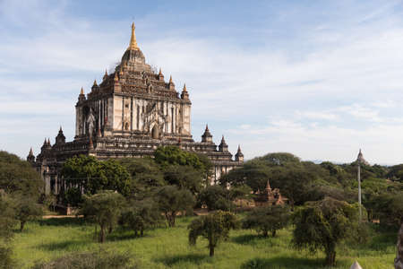 Temples and historical pagodas of the Archaeological Zone in Bagan in the early morning sunlight. Myanmar (Burma).