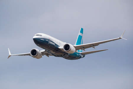 Flying display of a Boeing B737-8 MAX at the Farnborough International Airshow, UK