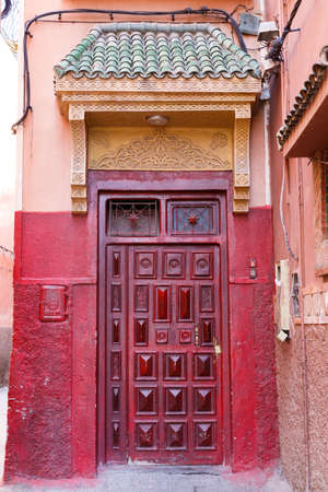 Traditional arabic Colorful door in Marrakesh, Morocco, Africa Stok Fotoğraf