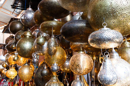 Traditional arabic handcrafted, leather, copper and wool work at the bazaar in Marrakesh, Morocco, Africa