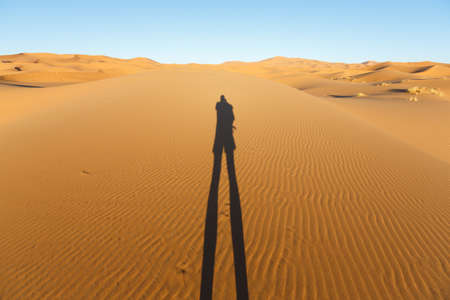 late low standing sun casts a long human shadow on the big sand dunes of Erg Chebbi, Morocco, offer an amazing sight of waves and shapes and changing golden, red and orange colors during dusk and sunset