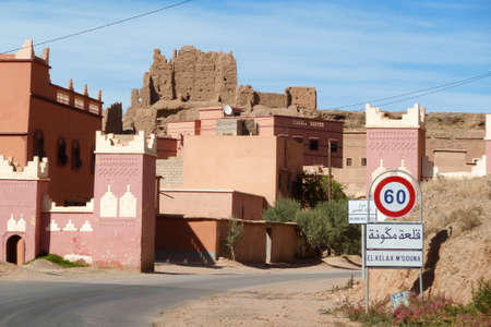 The fortified cities, kasbah, along the former caravan route between Sahara and Marrakech in present day Morocco form part of today's popular tourist track called Route des Kasbahs Stok Fotoğraf