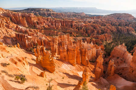 Great spires, also called hoodos, carved away by erosion in Bryce Canyon National Park, Utah, USA, shine red and orange during sunrise.