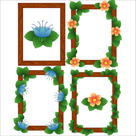 Wood frames with leaves and flowers