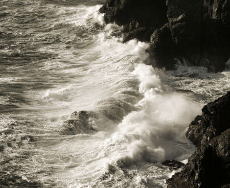 roaring sea: Seashore between Kynance Cove and Lizard Point Stock Photo