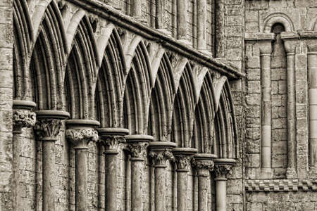 cambridgeshire: Gothic arches at the front tower of Ely Cathedral, Cambridgeshire, England