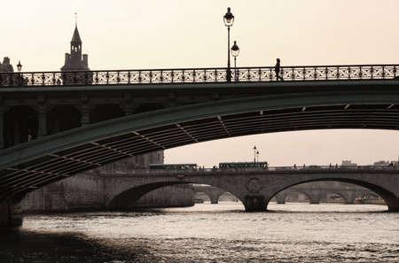 Bridge of the Seine to the Isle de la Cite, central Paris photo