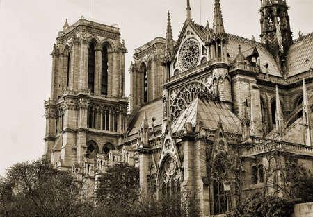 paris vintage: Ver en el lado de Notre Dame en sepia, Par�s