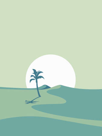 vector illustration of a desert landscape with sun and tree