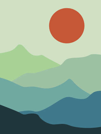 vector illustration of a mountain landscape with sun 일러스트