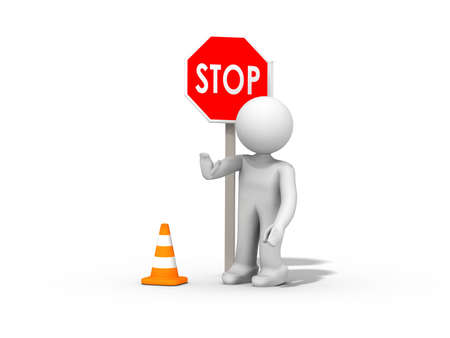 job security: stop, construction  Stock Photo