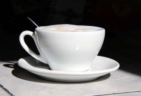 morning black coffee in a cup of aromatic