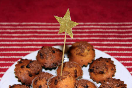 festive dish decorated with a star cupcakes