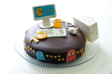 chocolate cake joke with delicious edible monsters from your computer