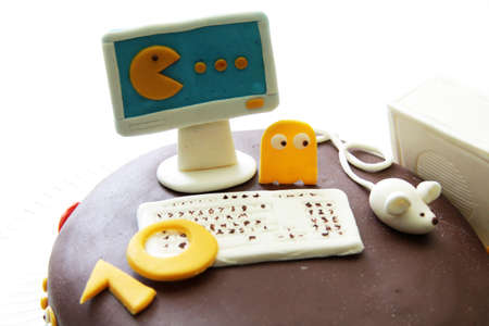 peekaboo in the delicious chocolate cake for a programmer Stock Photo
