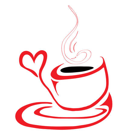 hot cup: Flavored black coffee in a hot cup of love Illustration