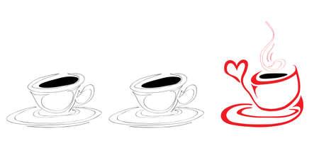 non alcohol: taza caliente de caf� roja no es como las copas fr�as habituales Vectores